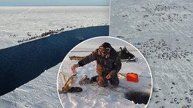 S rybáři se utrhla obří kra. O záchranu 600 lidí se pokouší vrtulníky a sněžné skútry