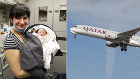 Alena pomáhala s porodem na palubě letadla. Chlapec je v pořádku, pilot nouzově přistál