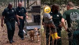 Chlapec (3) se ztratil v lese: Dlouhé hodiny ho chránil rodinný pitbul!