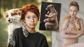 """Dechberoucí fotky! Umělkyně zachytila dojemný portrét i ženu v """"náruči"""" medvěda"""