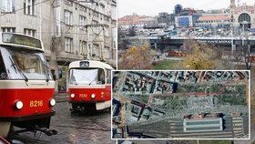 """Muzeum a hlavní nádraží propojí tramvajová trať. Vrchlického sady """"přepůlí"""""""