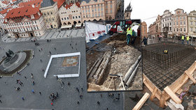 """Mariánský sloup na """"Staromáku"""": Základy narušil kabelovod! Původní zdivo se zachová, uvedli památkáři"""
