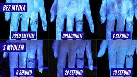Myjete si ruce kvůli koronaviru správně? Test pod UV lampou odhalil pravdu!