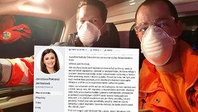 Záchranářka žádala o ochranné pomůcky. Kvůli dopisu hejtmance teď čelí trestnímu oznámení