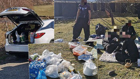 Policie narazila na podezřelou skupinku: V časech zákazu vycházení na pikniku pojídali kebab a kouřili vodní dýmku