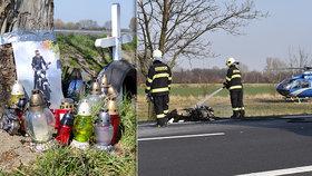 Smrtelná nehoda motorkářů na Nymbursku: Na místě tragédie jsou fotky jezdců a desítky svíček