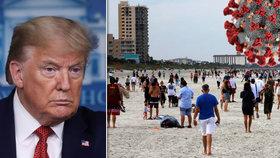 Trump kvůli šíření koronaviru pohrozil Číně. A na Floridě jsou už na plážích davy