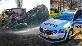 Auto po nehodě vybuchlo: Policista Jan a svědci zachránili řidiče před smrtí v plamenech
