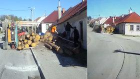 Dřevo z kamionu na Třebíčsku rozdrtilo chodcům nohy! Zachraňovali jsme je s motorovkou, říká svědek