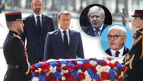 Macron, Johnson i Steinmeier oslavili 75 let od konce 2. světové války. Průvody zhatil vir