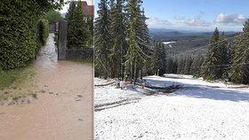 Pořádně rozmarné počasí na západě Čech: Nejdříve vytopené sklepy, pak sněhová nadílka