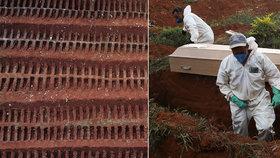 Mrazivé záběry z Brazílie: Řady vykopaných jam a masové hroby pro oběti koronaviru