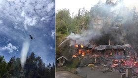 Požár zničil historické chaty Na Tokáni: Škody jdou do desítek milionů, příčina je stále neznámá