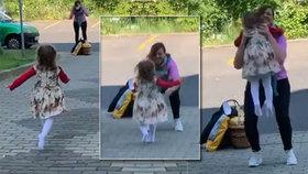 Video z českých Teplic dojalo svět: Holčička (2) se po 2,5 měsících karantény shledává se svou babičkou!
