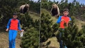 Za zády se mu zjevil obrovský medvěd: Děsivé výjevy natočil na video šokovaný strýc
