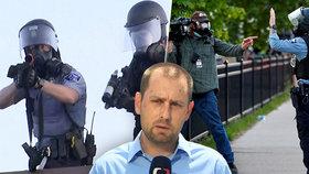 """Policie zasáhla i štáb ČT: """"Byli jsme na špatném místě."""" U Bílého domu hořelo"""