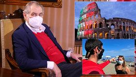 Zeman chce na podzim do Itálie a vzpomněl mrtvé. Na Hradě čeká slovenskou návštěvu