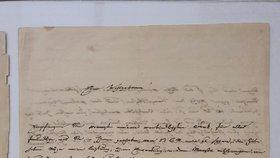 Velká vzácnost v Národní knihovně: Sbírku doplnil dosud neznámý dopis Mozartova syna z roku 1842