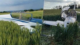 Větroni došlo palivo, zahučel do pole: Zraněného pilota odvezli do nemocnice