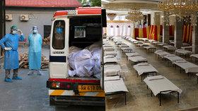 Těla na chodbách, místo nemocnice vagony. Indie nezvládá nápor pacientů s koronavirem