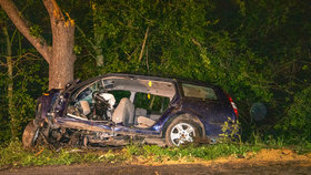 Tragická nehoda u Mochova v Praze-východ! Dva lidé zemřeli v autě po čelním nárazu do stromu