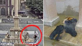VIDEO: Žhář zaútočil na Mariánský sloup na Staroměstském náměstí: Chtěl ho zapálit