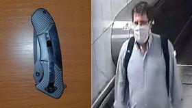 Agresor napadl v metru nožem druhého muže: Toho shání policie, aby událost objasnil