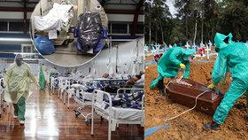 Hororové snímky z brazilských nemocnic: Těla obětí covid-19 cpou do odpadkových pytlů