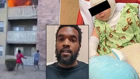 Hrdina chytil dítě padající z třetího poschodí hořícího domu: Matka uvnitř uhořela