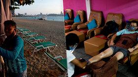 Opuštěné pláže a prázdné bary v turistickém ráji. Koronavirus devastuje Thajsko