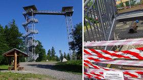 Rozhledně Hraniční vrch někdo ukradl schody: Do díry spadla holčička (2) a vážně se zranila