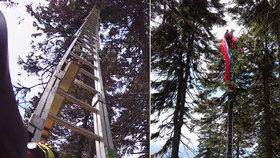 Paraglidista skončil na stromě: Zachraňovat ho museli hasiči