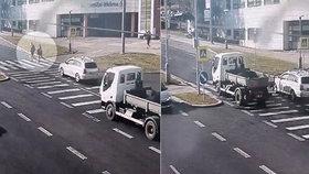 Bezohledný řidič náklaďáku vjel v rychlosti na přechod: Po tom šla dvojice s dítětem!
