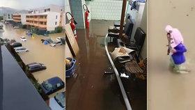 Obrazy zkázy po bouřce: Voda pohltila auta, lijáky zatopily domy i důchoďák na Slovensku