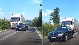 Obrovský hazard: Šílenec v BMW předjížděl na horizontu, k tragédii chyběly centimetry!