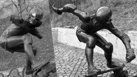Světový unikát znovu ve Folimance: Ukradli mu ruce, teď se nejstarší socha skateboardisty vrátí