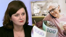 Maláčová dál tlačí na 6000 korun pro důchodce. Kompromisu s ANO se prý ale nebrání