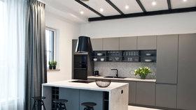 Monochromatický apartmán u řeky Visly je plný geometrických tvarů
