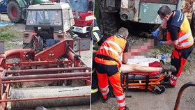 Muži z Brodku uvízla noha mezi válci zemědělského stroje: Vyprošťovali ho hasiči!