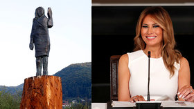 """Vypadá jako """"strašák do zelí"""": Nová socha Melanie Trumpové budí vášně! Tu původní podpálili"""