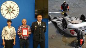 Honza zachránil život seniorovi: Sjel s autem do rybníka a začal se potápět!