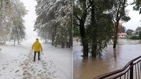 Počasí trápí sever Moravy: Nejdřív sníh, teď lijáky! Hasiči museli lidi svážet na člunech
