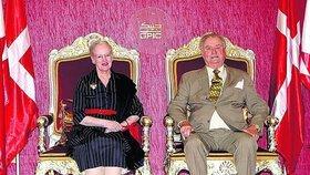 Královna Margrethe s princem Henrikem v Bahrajnu