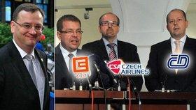 Premiér Nečas a trojice Tluchoř, Fuksa a Šnajdr, která měla dostat za složení mandátů trafiky