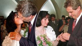 Svatba Miloše Zemana a Ivany Bednarčíkové v Praze v roce 1993. A první manželský polibek