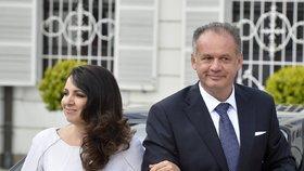 Nový slovenský prezident při inauguraci s novou první dámou Martinou Kiskovou
