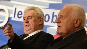 Prezident Zeman a exprezident Klaus na ekonomické konferenci při příležitosti 25 let od sametové revoluce