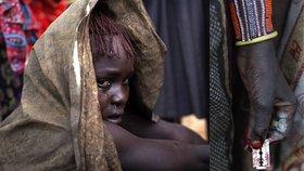 Protrpěná bolest v očích dívky, které právě bylo provedeno rituální zmrzačení ženských pohlavních orgánů