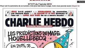 Dnešní titulka týdeníku Charlie Hebdo, na které je karikatura francouzského spisovatele Michela Houellebecqa