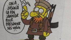 Poslední kreslený vtip, který vyrobil šéfredaktor časopisu Stephane Charbonnier jen pár minut před tím, než byl zavražděn